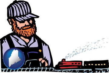 a model railroad hobbyist - with Maine icon