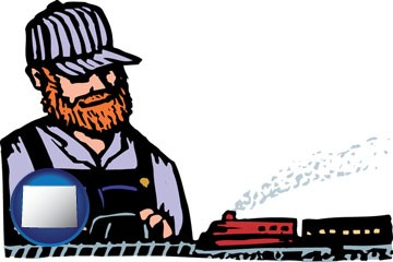 a model railroad hobbyist - with Wyoming icon